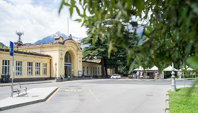 Bus station and train station in Merano